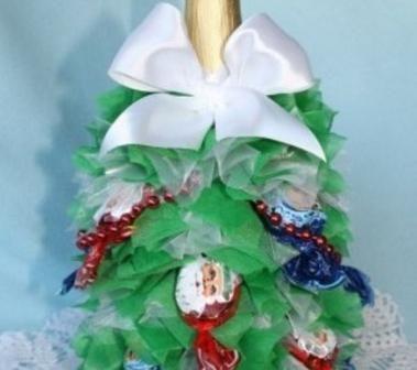 Пляшка шампанського і цукерки для створення новорічної ялинки