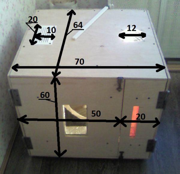 Зразкові розміри інкубатора з пінопласту