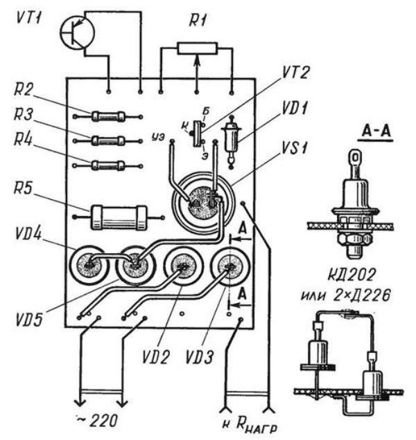 Електросхема для збірки терморегулятора