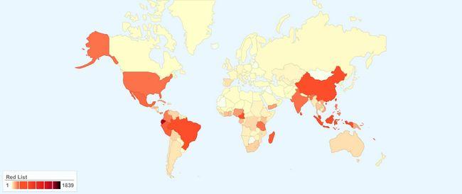 Кількість зникаючих видів рослин по країнам світу