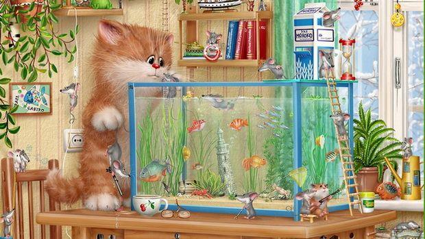 Розваги для кішок: відео акваріум