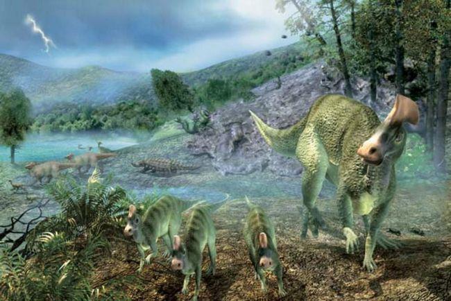 Гадрозавр з дитинчатами.