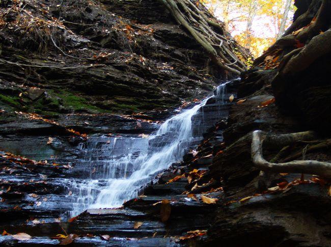 водоспад`Вечный огонь` в нью-йоркском парке Chestnut Ridge